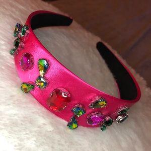 Satin jeweled pink headband
